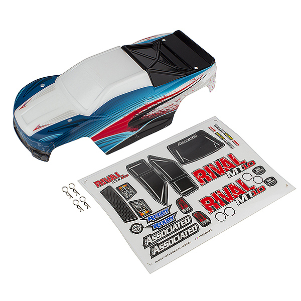 TEAM ASSOCIATED RIVAL MT10 PAINTED BODYSHELL RED/BLUE