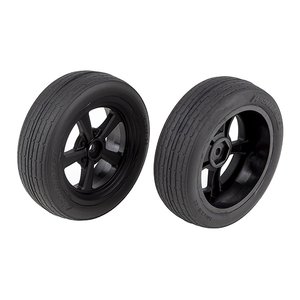 TEAM ASSOCIATED DR10 FRONT WHEELS WITH DRAG TYRES