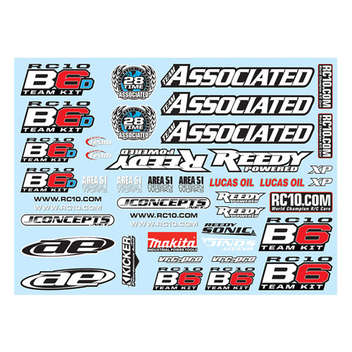 ASSOCIATED B6/B6D DECAL SHEET