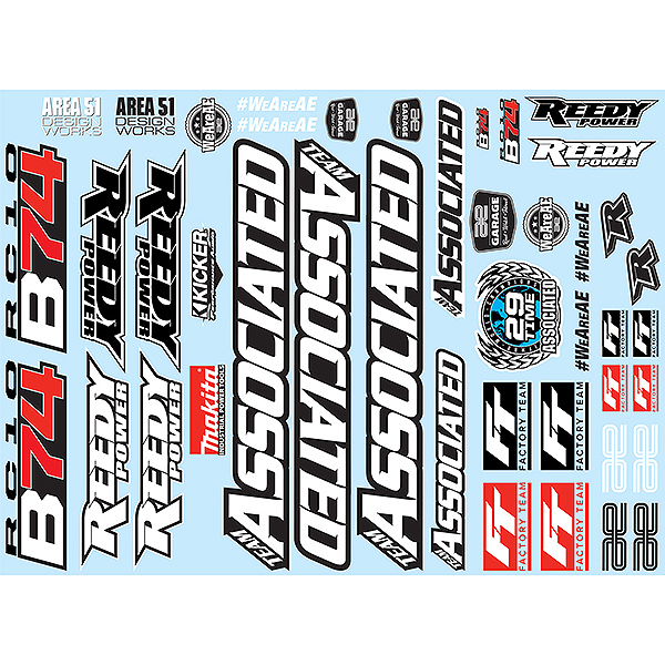 TEAM ASSOCIATED B74 DECAL SHEET