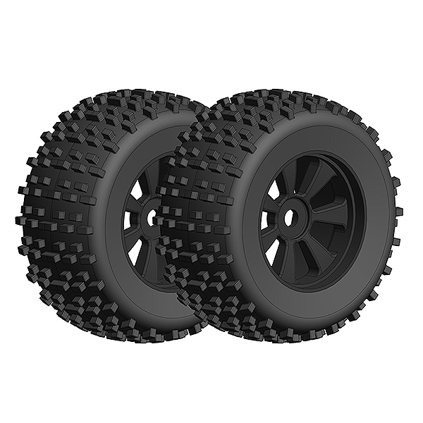 CORALLY OFFROAD 1/8 MONSTER TRUCK TIRES GRIPPER GLUED ON BLACK RIMS 1 PAIR