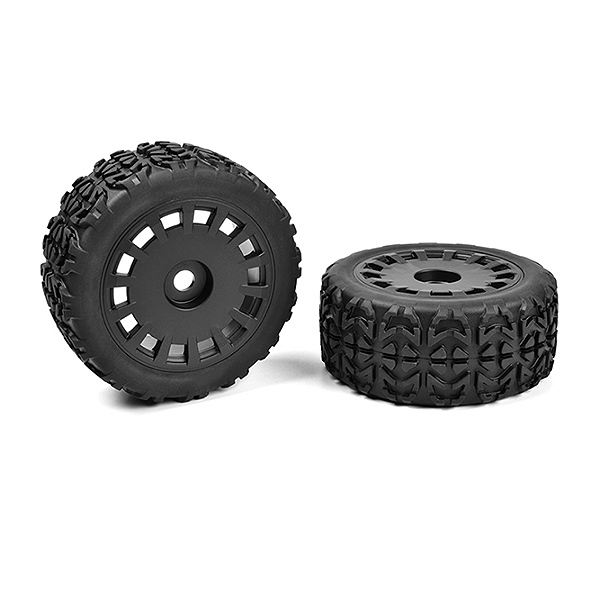 CORALLY OFF-ROAD 1/8 TRUGGY TI RES TRACER GLUED ON BLACK RIMS