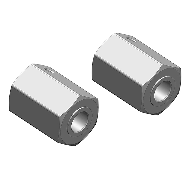 CORALLY WHEEL HEX ADAPTER FRONT ALUMINUM 2 PCS