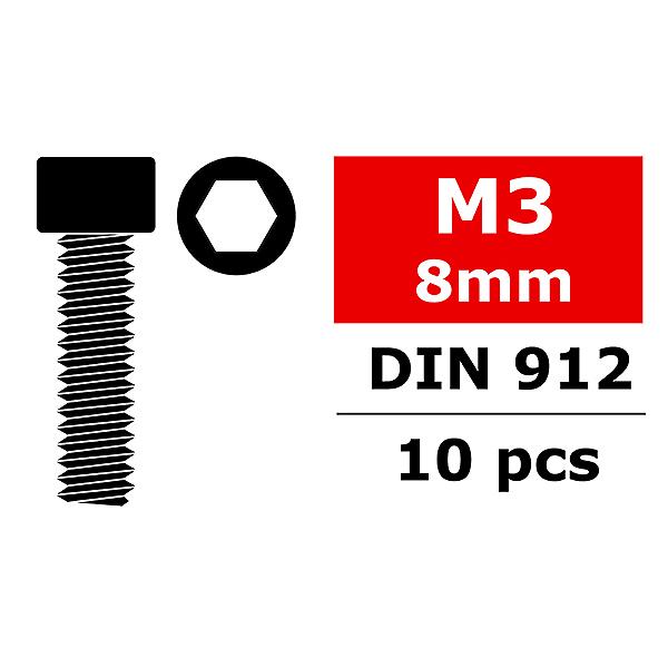 CORALLY STEEL SCREWS M3 X 8MM HEX SOCKET HEAD 10 PCS
