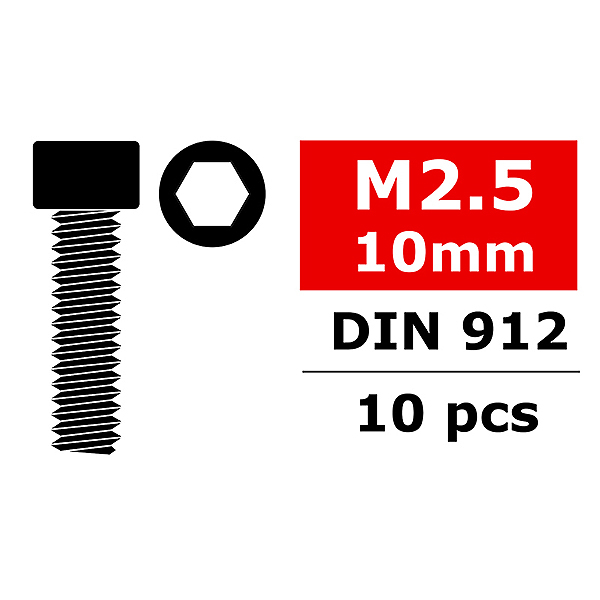 CORALLY STEEL SCREWS M2.5 X 10MM HEX SOCKET HEAD 10 PCS