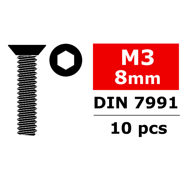 CORALLY STEEL SCREWS M3 X 8MM HEX FLAT HEAD 10 PCS