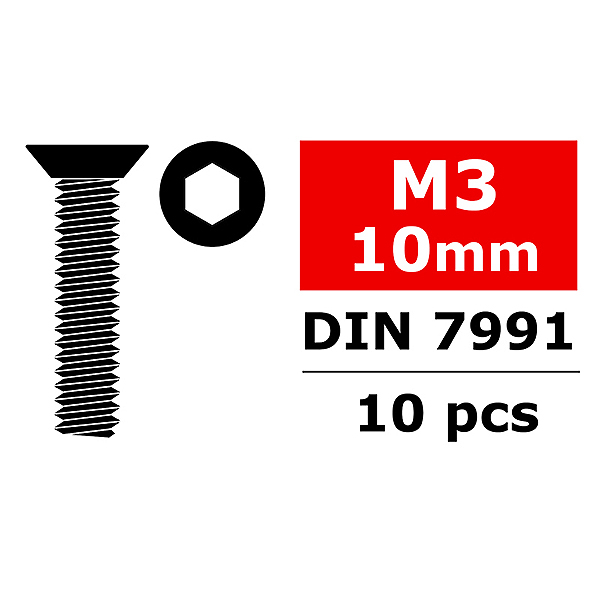 CORALLY STEEL SCREWS M3 X 10MM HEX FLAT HEAD 10 PCS