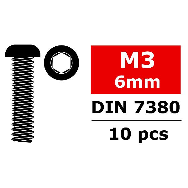 CORALLY STEEL SCREWS M3 X 6MM HEX BUTTON HEAD 10 PCS