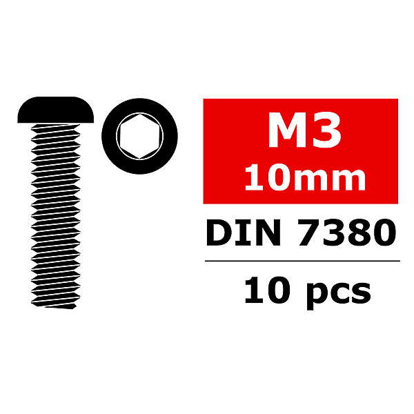 CORALLY STEEL SCREWS M3 X 10MM HEX BUTTON HEAD 10 PCS
