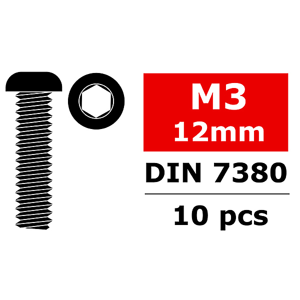 CORALLY STEEL SCREWS M3 X 12MM HEX BUTTON HEAD 10 PCS