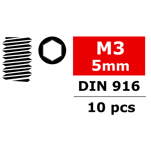 CORALLY STEEL SET SCREWS M3 X 5MM HEX 10 PCS