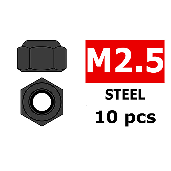 CORALLY STEEL NYLSTOP NUT M2.5 BLACK COATED 10 PCS