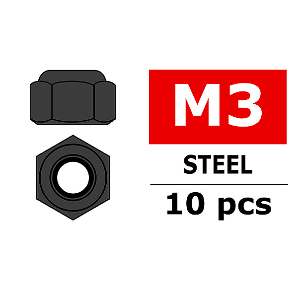 CORALLY STEEL NYLSTOP NUT M3 BLACK COATED 10 PCS