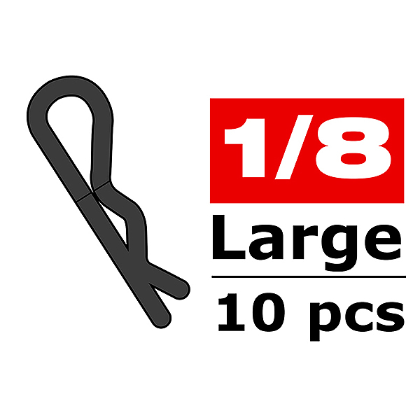 CORALLY BODY CLIPS 45 BENT LARGE BLACK 10 PCS