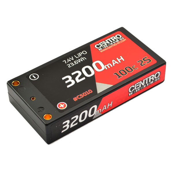 CENTRO 3200MAH 2S 7.4V 100C HARDCASE LP SHORTY LIPO BATTERY