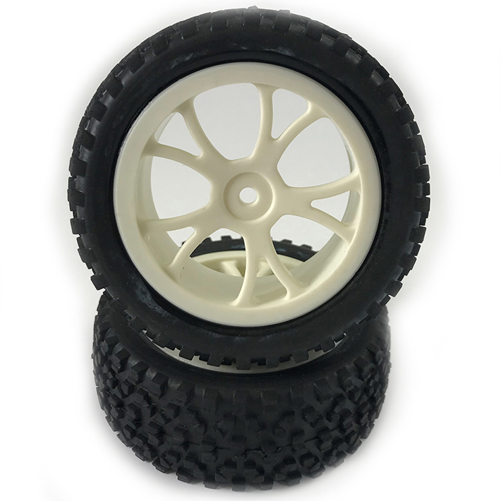 FASTRAX 1/10TH MOUNTED CUBOID BUGGY FRONT TYRES WHITE 10-SP