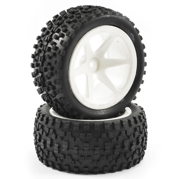 FASTRAX 1/10TH MOUNTED CUBOID BUGGY REAR TYRES 6-SPOKE