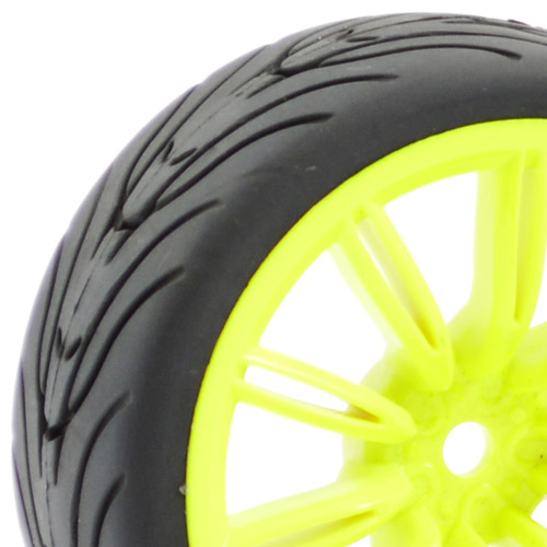 FASTRAX 1/10 STREET/TREAD TYRE 20SP NEON YELLOW WHEEL