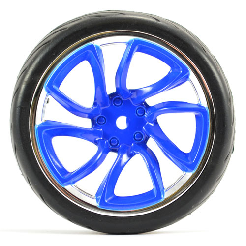 FASTRAX 1/10 STREET/TREAD TYRE TRI-5 BLUE/CHROME WHEEL