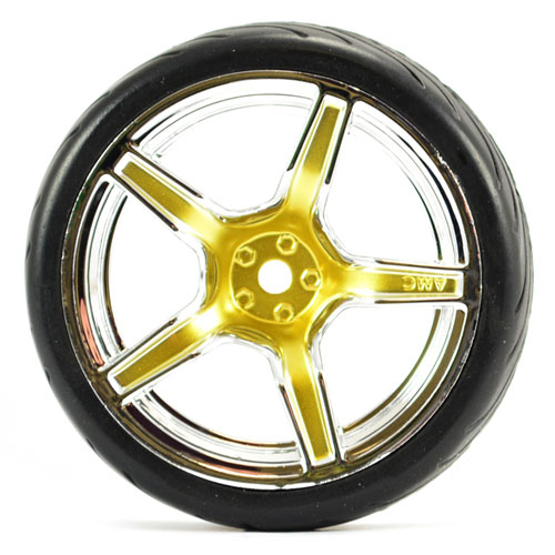 FASTRAX 1/10 STREET/TREAD TYRE 5SP GOLD/CHROME WHEEL