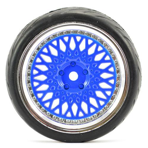 FASTRAX 1/10 STREET/TREAD TYRE CLASSIC BLUE/CHROME WHEEL