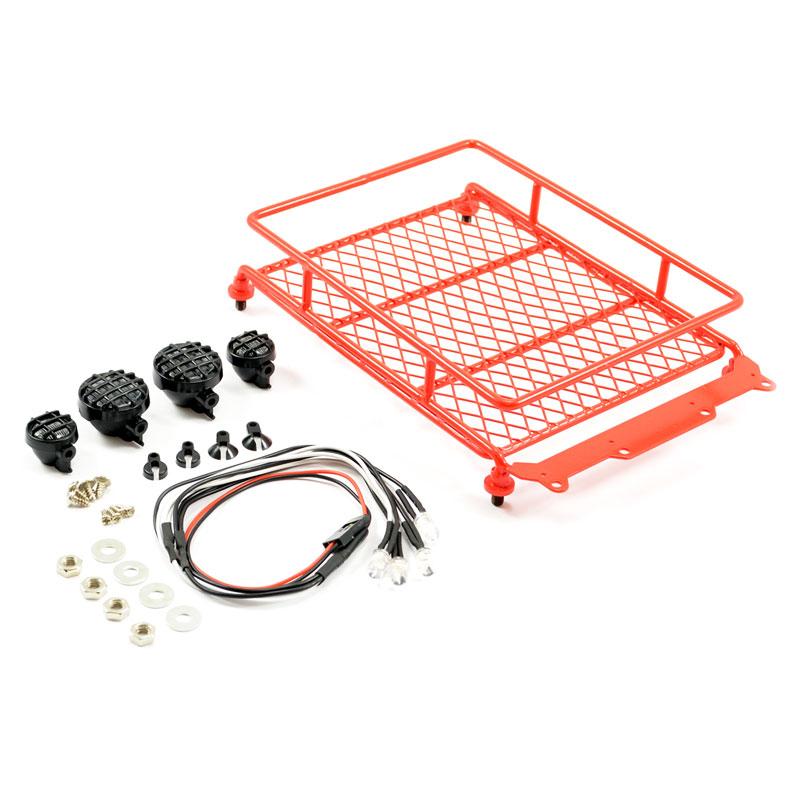 FASTRAX RED ALUMINIUM LUGGAGE RACK w/LED LAMPS L130MM X W110MM