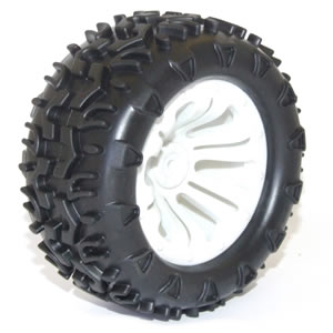 FTX CARNAGE MOUNTED WHEEL/TYRE COMPLETE PAIR - WHITE