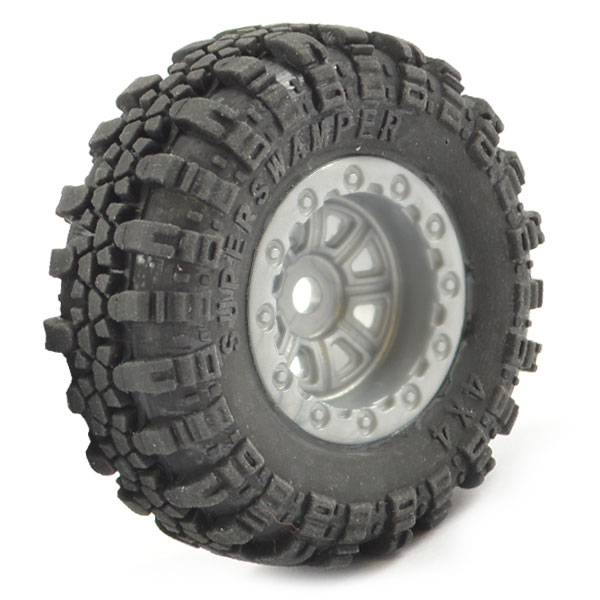 FTX OUTBACK MINI SWAMPER TIRE & WHEEL SET - GREY (4PC)