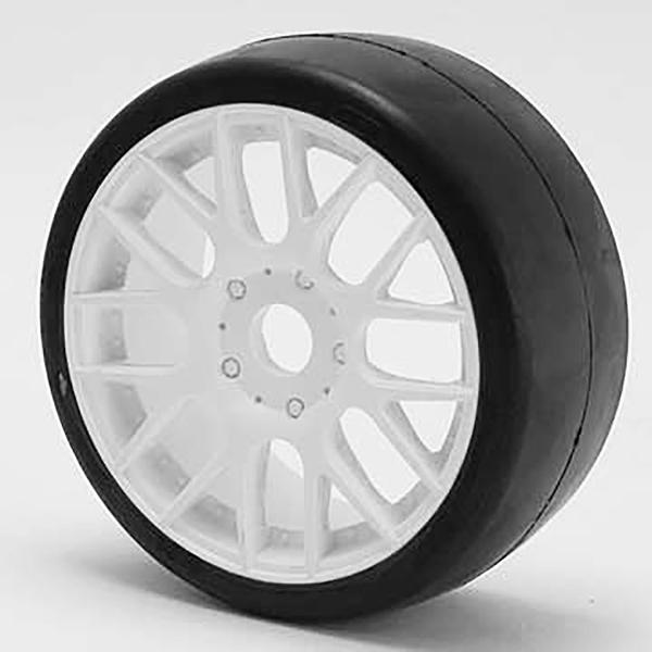 SWEEP 1/8TH GT R2 PRO COMPOUND SLICK GLUED 50DEG/WHITE WHEEL