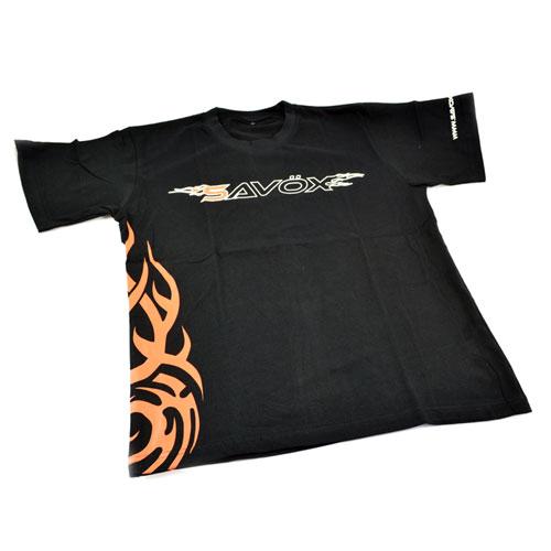 SAVOX T-SHIRT BLACK (L)(UK-M) 2015 FLAME DESIGN