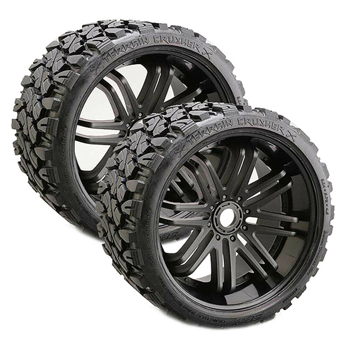 SWEEP TERRAIN CRUSHER BELTED TYRE ON BLACK 17MM WHEELS 1/4 OFFSET
