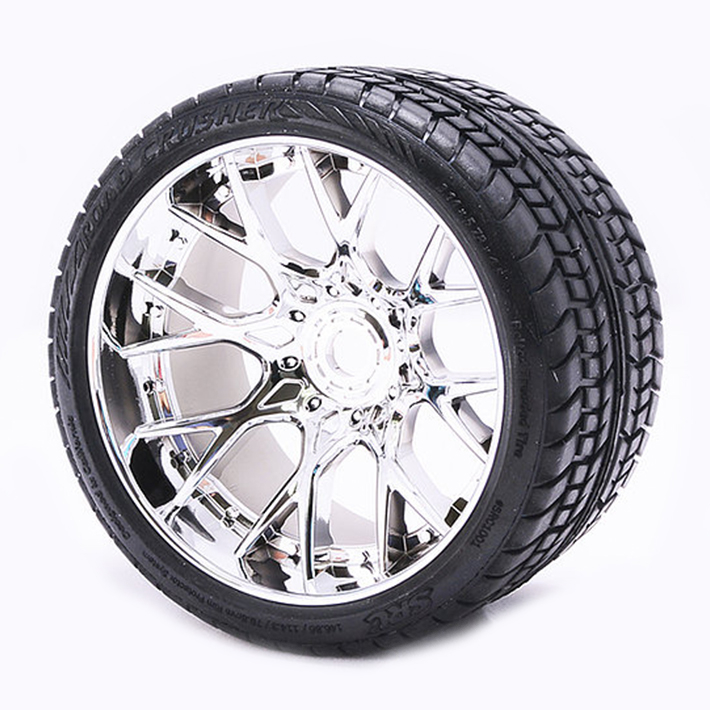 SWEEP ROAD CRUSHER BELTED TYRE SILVER 17MM WHEELS 1/2