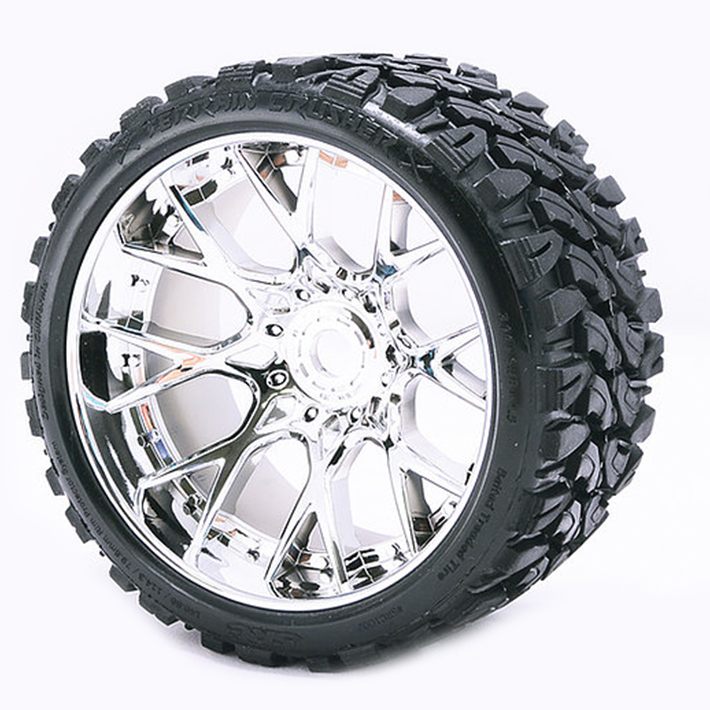 SWEEP TERRAIN CRUSHER BELTED T YRE SILVER 17MM WHEEL 1/2 OFFS