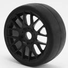 SWEEP 1/8TH GT R2 PRO COMPOUND SLICK GLUED 50DEG/BLACK WHEEL