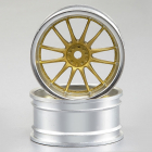 KILLERBODY WHEEL 6MM OFFSET GO LD/SILVER V-SPOKE 1/10 TC (4)