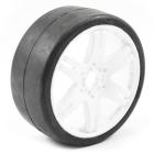 SWEEP 1/8TH GT SLICK GLUED 50DEG TYRES W/ BELT / 6IX PAK WHITE WHEELS / BASIC (PR)