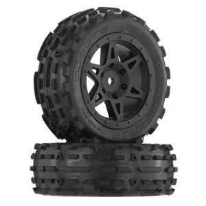 ARRMA SAND SCORPION DB TIRE/WHEEL GLUED BLACK FR (2)