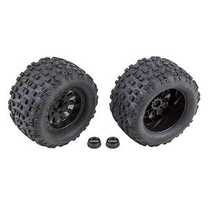 TEAM ASSOCIATED RIVAL MT10 BLK METHOD WHEELS/TYRES MOUNTED