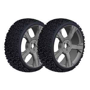 CORALLY OFFROAD 1/8 BUGGY TIRE S NINJA LOW PROFILE GLUED ON BLACK RIMS 1 PAIR