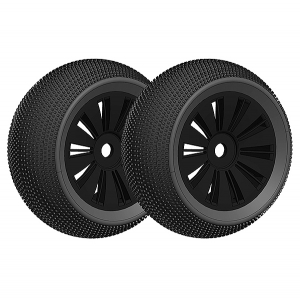 CORALLY OFFROAD 1/8 TRUGGY TYRE GLUED ON BLACK RIMS