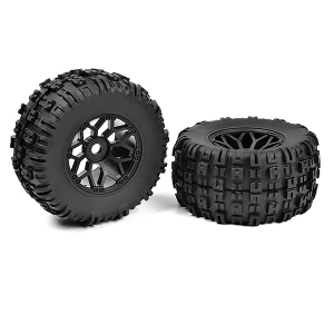 CORALLY OFF-ROAD 1/8 MT TIRES MUD CLAWS GLUED ON BLACK RIMS