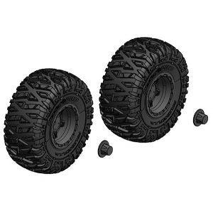 CORALLY TIRE AND RIM SET TRUCK BLACK RIMS 1 PAIR