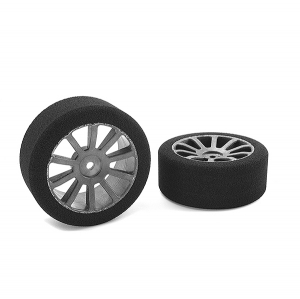 CORALLY ATTACK FOAM TIRES 1/10 GP TOURING 37 SHORE 26MM FRONT CARBON RIMS 2PCS