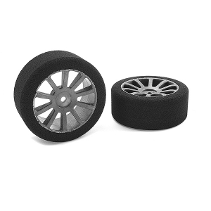 CORALLY ATTACK FOAM TIRES 1/10 GP TOURING 40 SHORE 26MM FRONT CARBON RIMS 2PCS