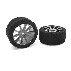 CORALLY ATTACK FOAM TIRES 1/10 GP TOURING 35 SHORE 30MM REAR CARBON RIMS 2PCS