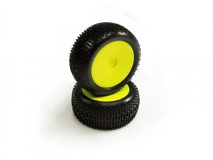 Carisma GT14B Neon Yellow Standard Pre-Glued Rear Tyres