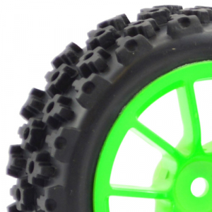 FASTRAX 1/10 STREET/RALLY TYRE 10SP NEON GREEN WHEEL