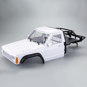 FASTRAX 1/10 ROCKEE PICK-UP & REAR CAGE HARDBODY 313-324mm - WHITE