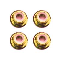 FASTRAX M3 GOLD FLANGED LOCKNUTS 4PCS