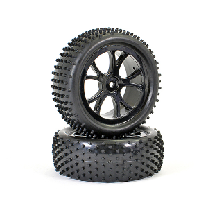 FTX VANTAGE FRONT BUGGY TYRE MOUNTED ON WHEELS (PR) - BLACK